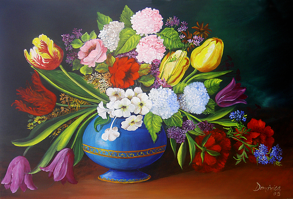 Flowers In A Vase Print by Dominica Alcantara