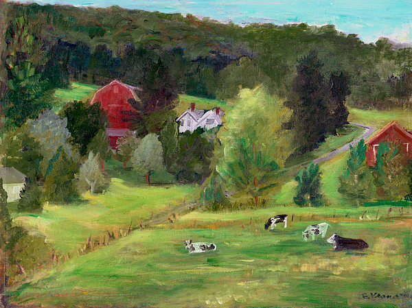 Landscape With Cows Print by Ethel Vrana