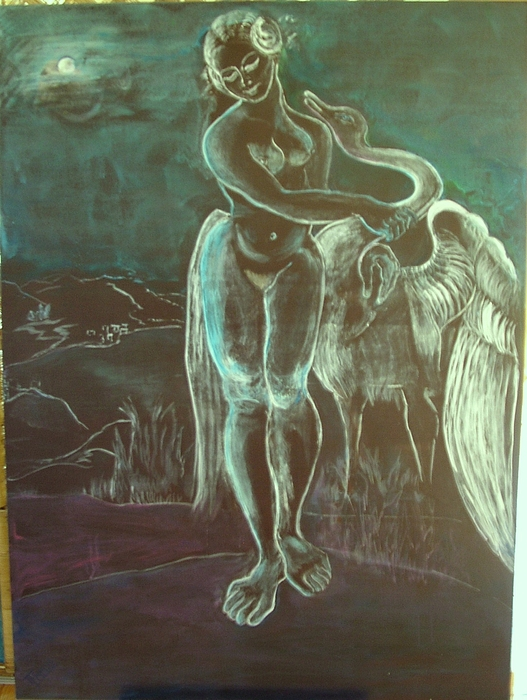 Leda And The Swan Print by Michele D B