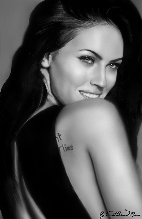 Megan Fox Print by Catherin Moon