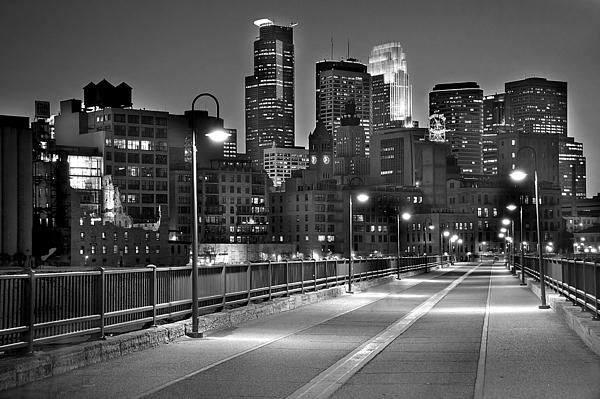 Minneapolis Skyline From Stone Arch Bridge Print by Jon Holiday