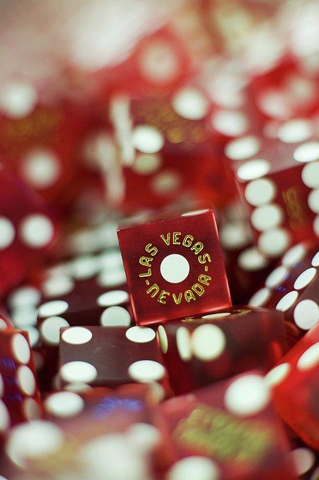 Pile Of Dice At A Casino, Las Vegas, Nevada Print by Christian Thomas