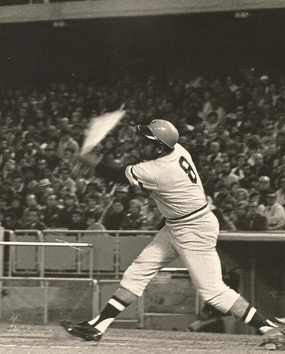 Pittsburgh Pirate Willie Stargell Batting At Dodger Stadium Print by Jamie Baldwin
