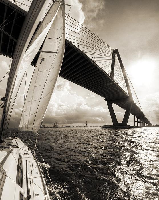 Sailing On The Charleston Harbor Beneteau Sailboat Print by Dustin K Ryan