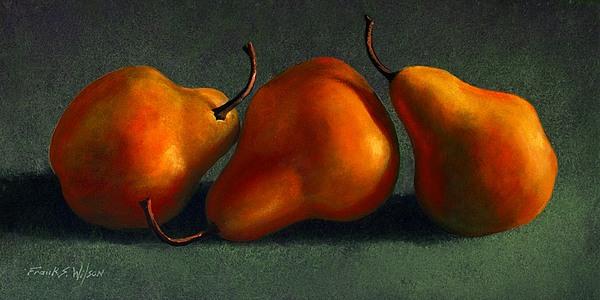 Three Golden Pears Print by Frank Wilson
