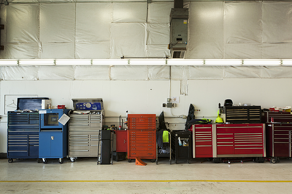 Tool Chests In An Automobile Repair Shop Print by Don Mason