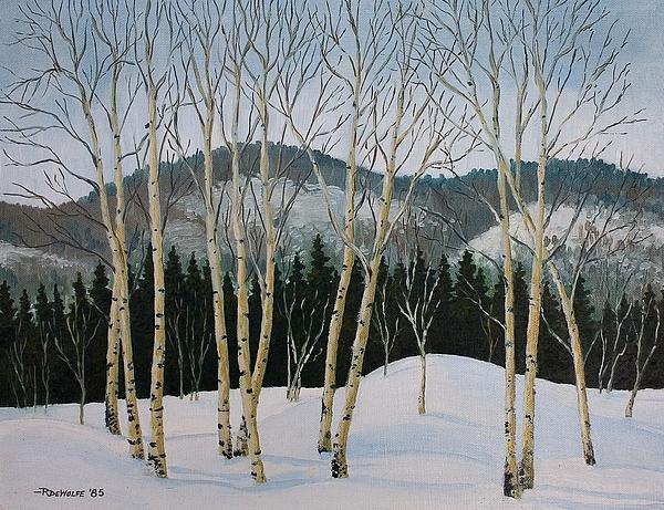 Winter Poplars Print by Richard De Wolfe