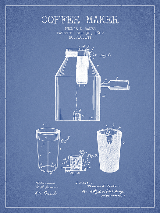 1902 Coffee Maker Patent Light Blue By Aged Pixel