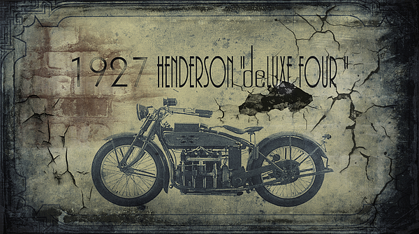 1927 Henderson Vintage Motorcycle Print by Cinema Photography