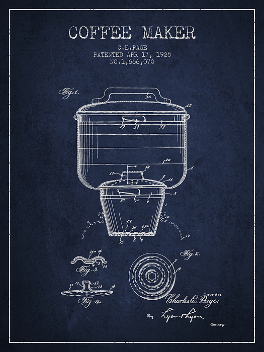 1928 Coffee Maker Patent Navy Blue By Aged Pixel