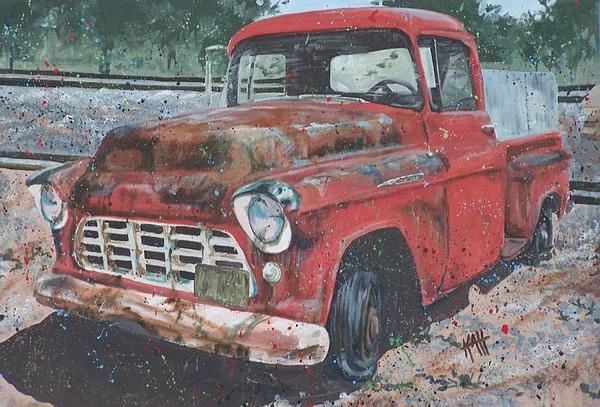 1956 Chevy Pickup Print by Les Katt