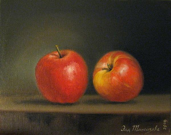 2 Apples Print by Eleonora Mingazova