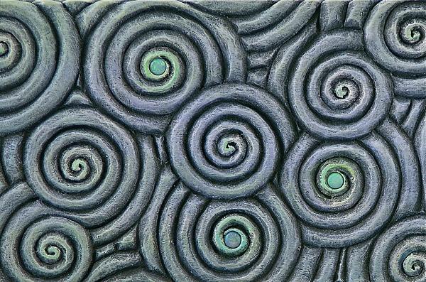 Bleus En Spirale Print by Jacques Vesery