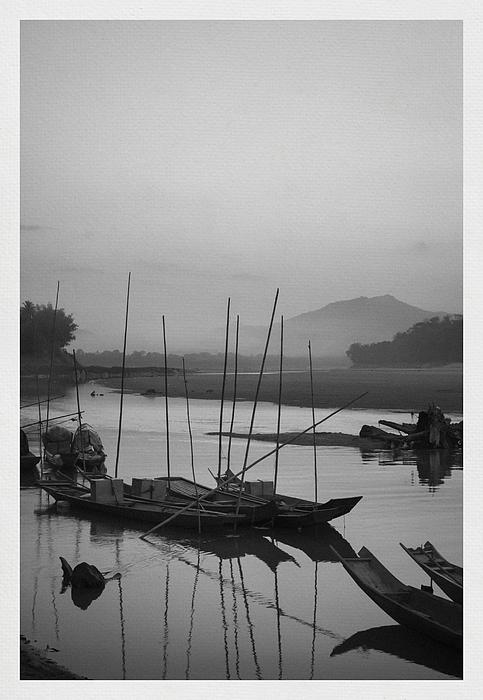 sunset at Mae Khong river Print by Setsiri Silapasuwanchai