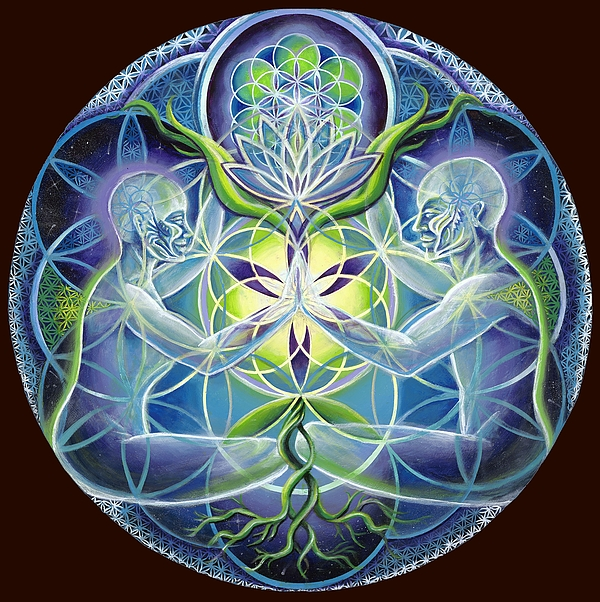 The Flowering Of Divine Unification Print by Morgan  Mandala Manley