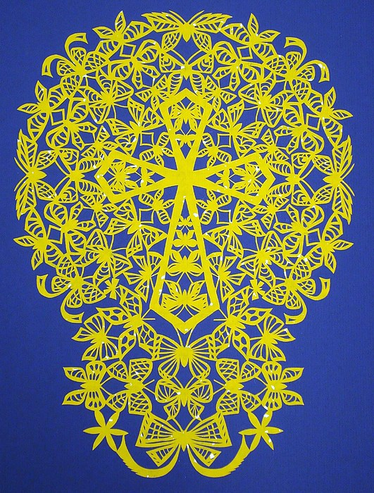 Yellow Butterfly-cross Print by Tong Steinle