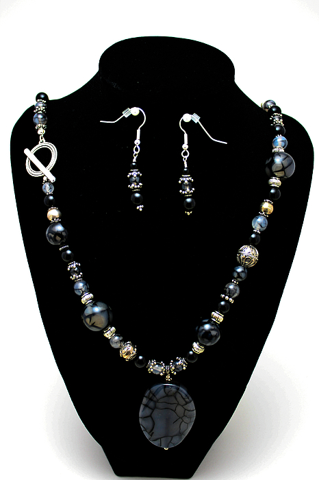 3545 Black Cracked Agate Necklace And Earring Set Print by Teresa Mucha