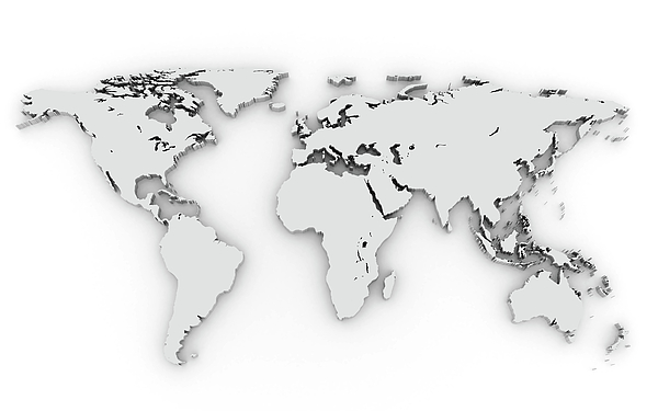 3d Silver World Map Print by Chen Hanquan