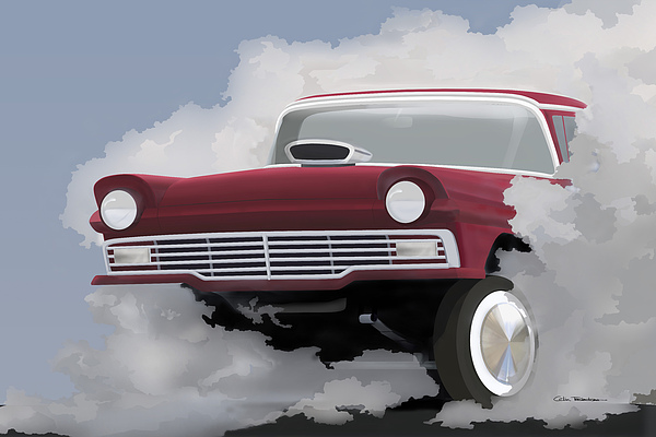 57 Ford Gasser Print by Colin Tresadern