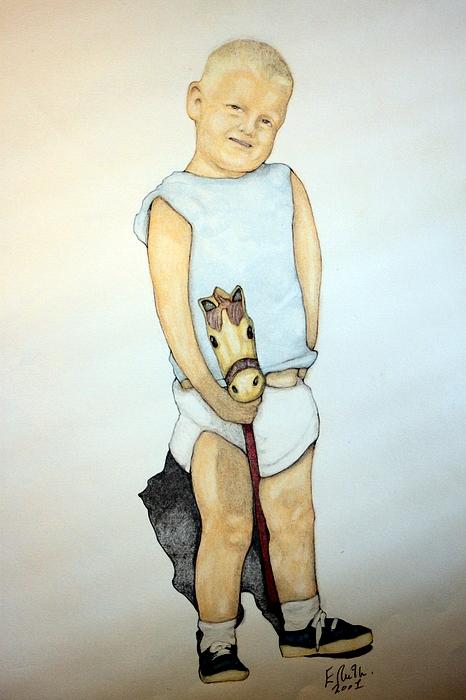A Boy On A Stickhorse Print by Edward Ruth