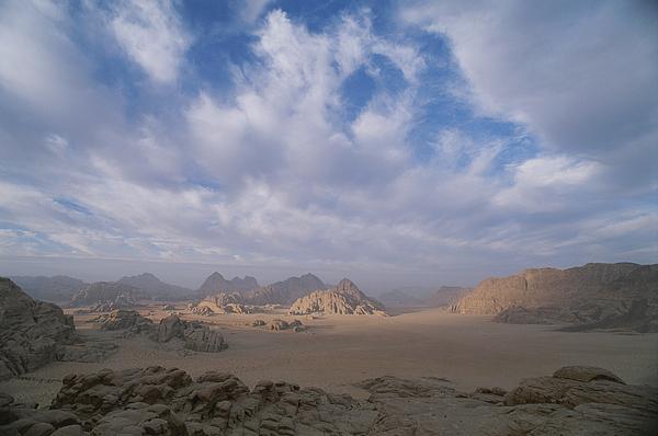 A Panoramic View Of The Wadi Rum Region Print by Gordon Wiltsie