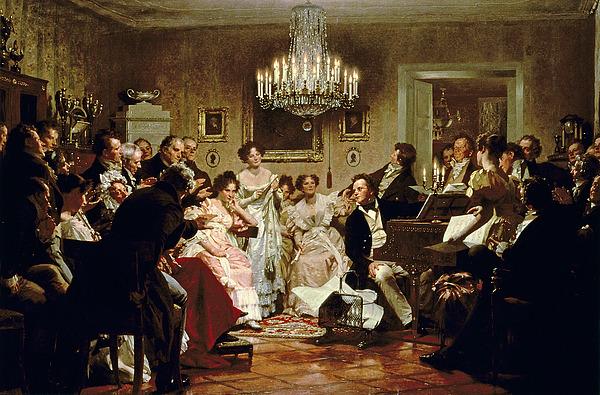 A Schubert Evening In A Vienna Salon Print by Julius Schmid