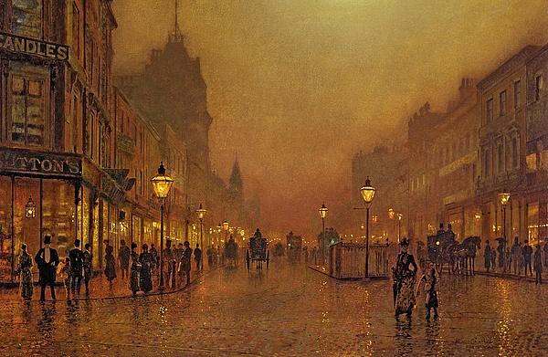 A Street At Night Print by John Atkinson Grimshaw