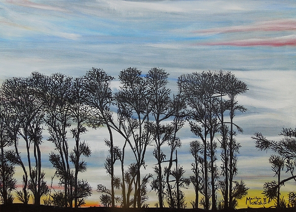 A Treeline Silhouette Print by Marilyn  McNish