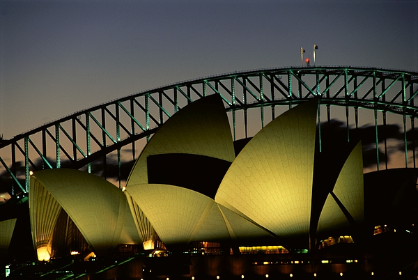 A View At Night Of The Famed Sydney Print by Medford Taylor