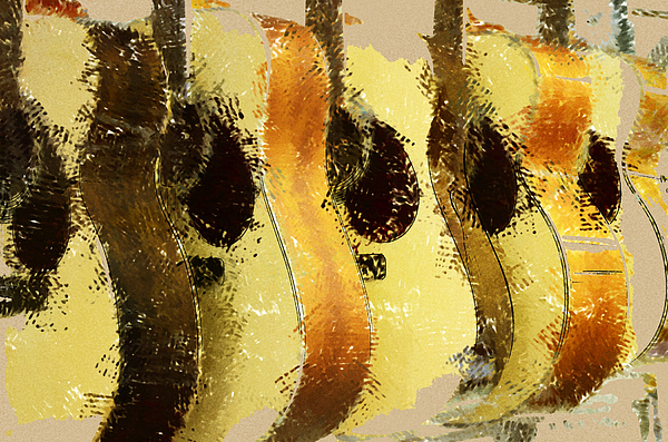 Abstract Acoustic Guitars Print by David G Paul