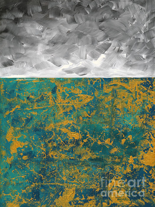 Megan Duncanson - Abstract Original Painting Contemporary Metallic Gold and Teal with Gray MADART