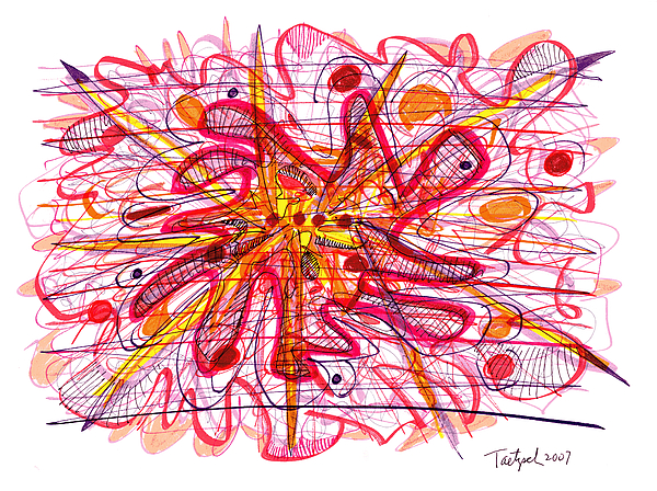 Abstract Pen Drawing Fifteen Print by Lynne Taetzsch