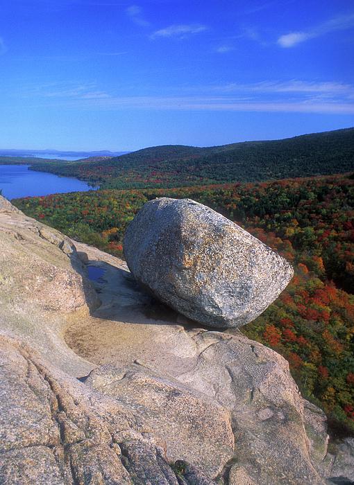 Acadia Bubble Rock Autumn Print by John Burk