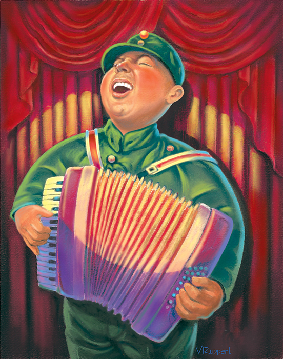 Accordian Player Print by Valerian Ruppert