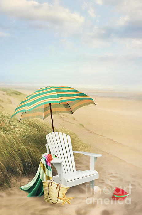 Adirondack Chair And Umbrella By The Seaside By Sandra