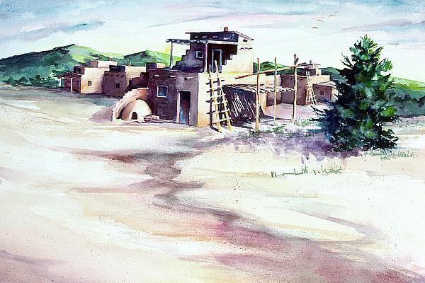 Adobe Pueblo Print by Connie Williams