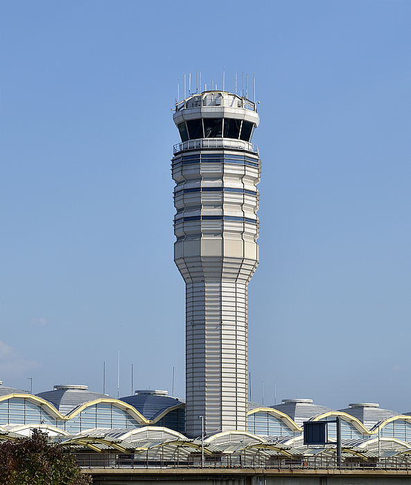 Air Traffic Control Tower At Reagan National Airport Print by Brendan Reals