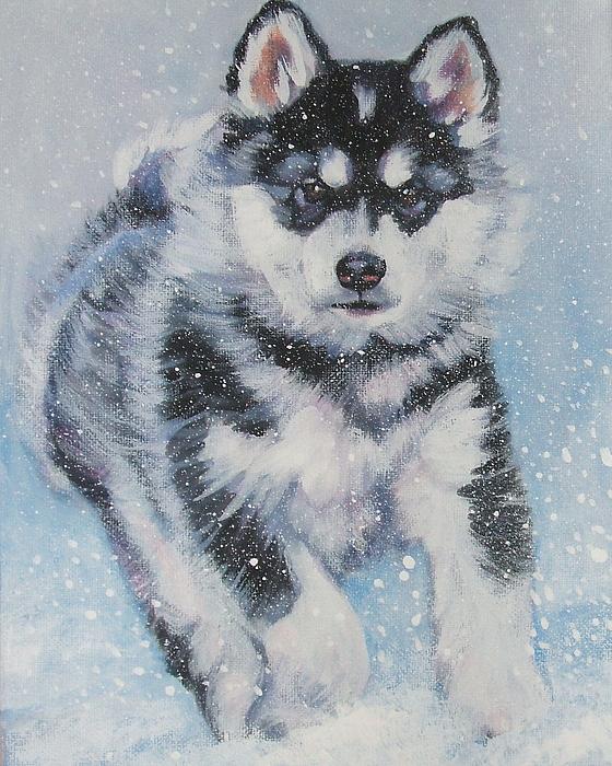 alaskan Malamute pup in snow Print by L A Shepard