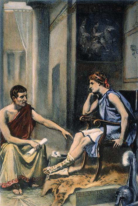 Alexander & Aristotle Print by Granger