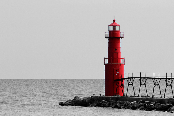 Algoma Lighthouse Bwc Print by Mark J Seefeldt