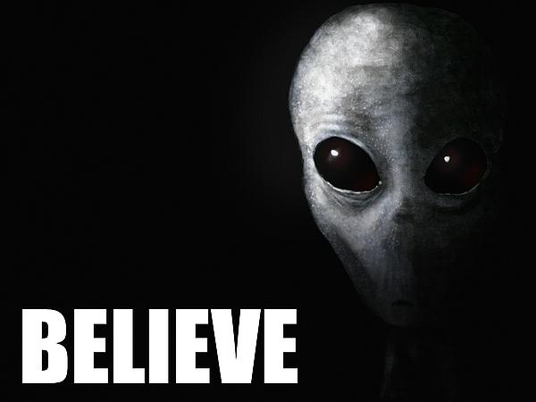 Alien Grey - Believe Print by Pixel Chimp