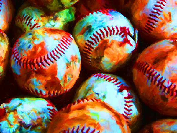 All American Pastime - Pile Of Baseballs - Painterly Print by Wingsdomain Art and Photography