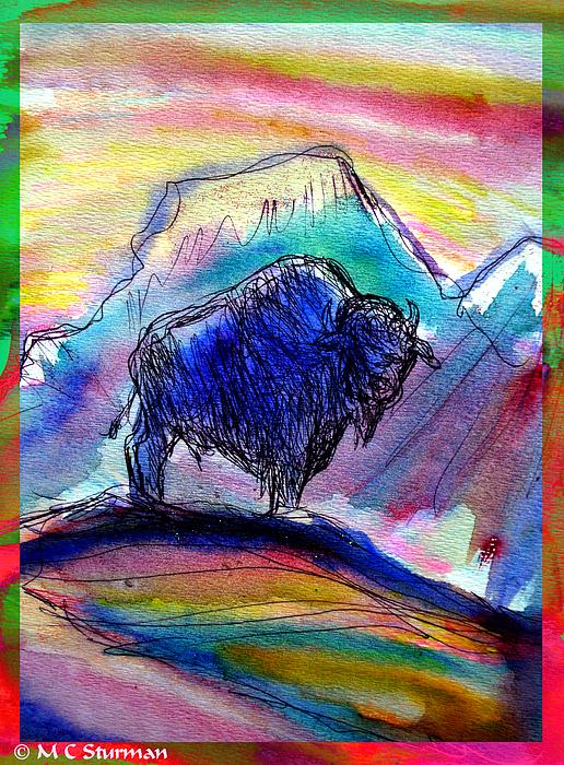 American Buffalo Sunset Print by M C Sturman