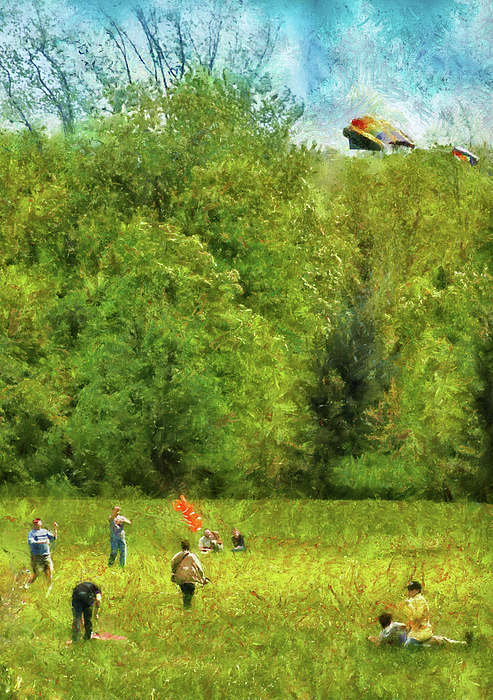 Americana - People - Let's Go Fly A Kite Print by Mike Savad