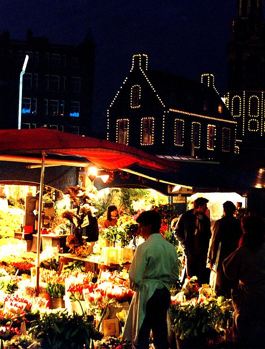 Amsterdam Flower Market Print by Nancy Mueller