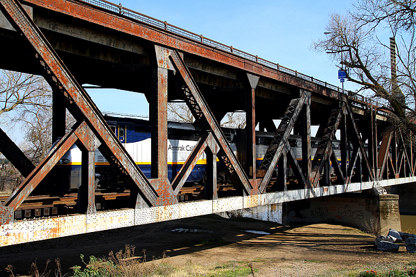 Amtrak California Crossing The Old Sacramento Southern Pacific Train Bridge . 7d11410 Print by Wingsdomain Art and Photography