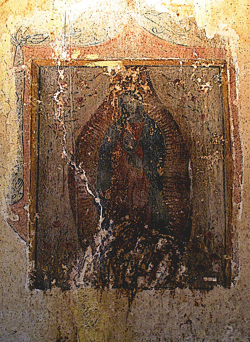 Ancient Virgin Of Guadalupe - Ex-convento Yuriria Print by Olden Mexico