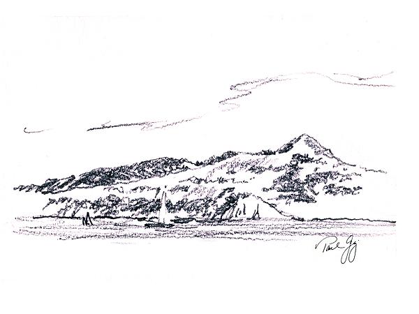 Angel Island From Sausalito Print by Paul Gaj