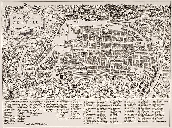 Antique Map Of Naples Print by Italian School