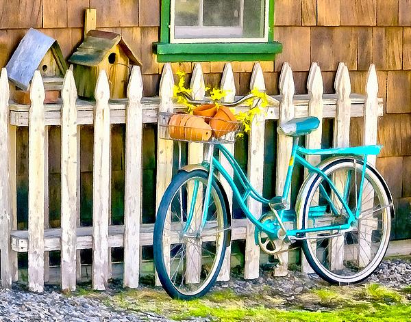 Betty Denise - Aqua Antique Bicycle along Fence